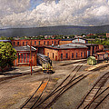 Train - Entering the train yard Print by Mike Savad