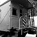 Train - The Caboose - Black and White Print by Paul Ward