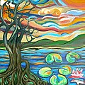 Tree And Lilies At Sunrise Poster by Genevieve Esson