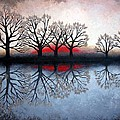 Trees at Sunet Poster by Janet King