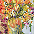 Tulips and Narcissi in an Art Nouveau Vase Poster by Joan Thewsey