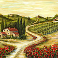 Tuscan road With Poppies Print by Marilyn Dunlap