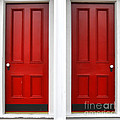 Twin Red Doors Print by Olivier Le Queinec