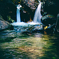 twin waterfall Print by Stylianos Kleanthous