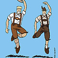 Two Bavarian Lederhosen Men Print by Frank Ramspott