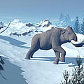 Two Large Mammoths Walking Slowly Print by Elena Duvernay