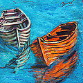 Two Wood Boats Poster by Xueling Zou