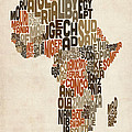 Typography Text Map of Africa Print by Michael Tompsett