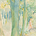Under the trees in the wood Print by Berthe Morisot