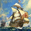 Unidentified Sailing Ships Poster by Andrew Howat