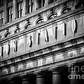 Union Station Chicago Sign in Black and White Poster by Paul Velgos