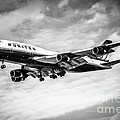 United Airlines Airplane in Black and White Print by Paul Velgos