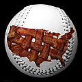 US Bacon Weave Map Baseball Square Print by Andee Photography