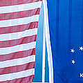 US Flag and Conch Republic Flag Key West  - Panoramic Poster by Ian Monk