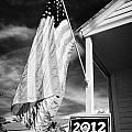 us flag flying and barack obama 2012 us presidential election poster florida usa Print by Joe Fox