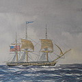 US Frigate Gives Chase In Stormy Weather Print by Elaine Jones