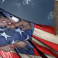 US Veterans Burial Flag 3 Panel Composite Digital Art Print by Thomas Woolworth