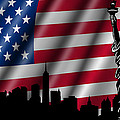 USA American Flag with Statue of Liberty Skyline Silhouette Print by David Gn