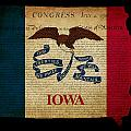 USA American Iowa State Map outline with grunge effect flag and  Print by Matthew Gibson