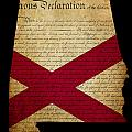 USA American State Alabama Map outline with grunge effect flag a Poster by Matthew Gibson