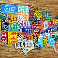USA License Plate Map Car Number Tag Art on Light Brown Stained Board Print by Design Turnpike