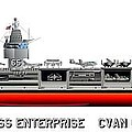 USS Enterprise CVN 65 1971-73 Print by George Bieda