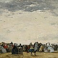Vacationers on the Beach at Trouville Print by Eugene Louis Boudin