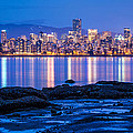 Vancouver city twilight from Jericho Beach Print by Pierre Leclerc Photography
