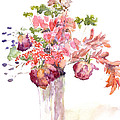 Vase of Dried Flowers Print by Claudia Hafner