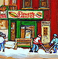 VERDUN HOCKEY GAME CORNER LANDMARK RESTAURANT DEPANNEUR PIERRETTE PATATE WINTER MONTREAL CITY SCEN Print by CAROLE SPANDAU