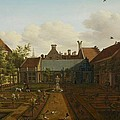 View of a town house garden in The Hague Print by Paulus Constantin La Fargue