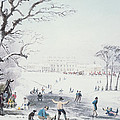 View of Buckingham House and St James Park in the Winter Poster by John Burnet