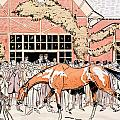 Viewing the racehorse in the paddock Print by Thelem