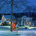 Village of New Milford - Winter Panoramic Print by Thomas Schoeller
