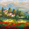 Village with poppy fields  Poster by Gina Femrite