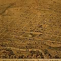 Vintage Fort Worth Texas in 1876 City Map On Worn Canvas Print by Design Turnpike