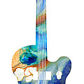 Vintage Guitar - Colorful Abstract Musical Instrument Poster by Sharon Cummings