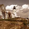 VINTAGE PEMAQUID POINT LIGHTHOSE Print by Skip Willits