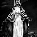 Virgen Mary in Black and White Print by Carmen Cordova