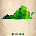 Virginia Watercolor Map Poster by Naxart Studio