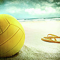 Volleyball in the sand with sandals Poster by Sandra Cunningham