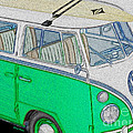 Vw Surf Bus Print by Cheryl Young
