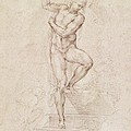 W53r The Risen Christ study for the fresco of The Last Judgement in the Sistine Chapel Vatican Print by Michelangelo Buonarroti