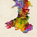Wales Watercolor Map Print by Michael Tompsett
