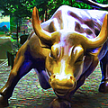 Wall Street Bull v2 Print by Wingsdomain Art and Photography