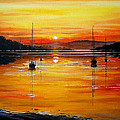 Watery Sunset at Bala lake Poster by Andrew Read