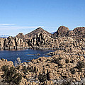 Watson Lake and Four Peaks Print by Elaine Snyder