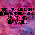 We Become Silent Poster by Elissa Barr