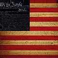 We The People - The US Constitution with Flag - square Print by Wingsdomain Art and Photography