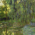 Weeping Willows The Waterlily Pond at Giverny Print by Claude Monet